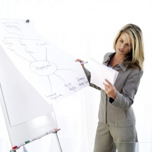 Female Executive Drawing a Flow Diagram